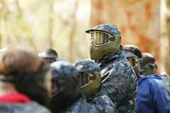 A man in mask for paintball. Paintball mask, boy extrime game Stock Image