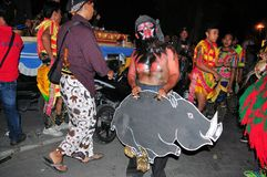 Man with mask and pig, Yogyakarta city festival Stock Images