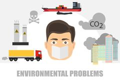 The man in the mask is protected from the contaminated environment. Protection of a person from carbon dioxide. Flat design, vector illustration, vector Stock Image