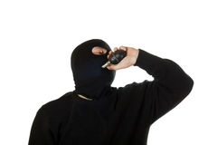 Man in mask with russian grenade. Royalty Free Stock Image
