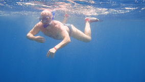 A man in a mask underwater in the sea stock footage