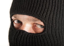 Man in mask. On white background stock images