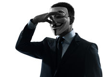Man masked anonymous group silhouette portrait Royalty Free Stock Image
