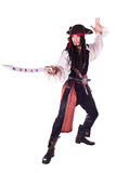 Man In Masquerade. pirate. A man dressed as a pirate, pistol and saber. White background. Studio photography Stock Photo