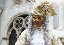 Man masquerading as an aristocrat at the Venice carnival. Italy.  royalty free stock photography