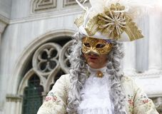 Man masquerading as an aristocrat at the Venice carnival. Italy.  stock photography
