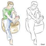 Man Massaging Gout Feet Royalty Free Stock Image