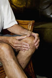 Man massaging knee pain_1 Stock Photography