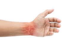 Man massaging painful wrist. On a white background. Pain concept royalty free stock photos