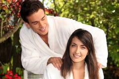 Man massaging woman Royalty Free Stock Photo
