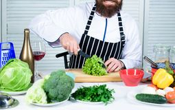 Man master chef or amateur cooking food. Sharp knife chopping vegetable. Prepare ingredient for cooking. According to. Recipe. Useful for significant amount of royalty free stock images