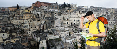 Man and matera panoramic  view Stock Photography