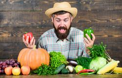 Man mature bearded farmer hold vegetables wooden background. Sell vegetables. Grocery store. Buy vegetables local farm royalty free stock images