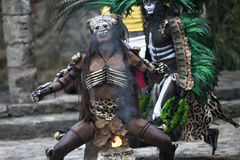 Man in Maya indian costume in Tulum, Mexico. Tulum, Mexico, March 15th, 2017: Man in Maya indian costume in Tulum, Mexico royalty free stock photo