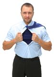 Man mayka. Business man with courage and superman concept tearing off his shirt isolated over white background Royalty Free Stock Photos