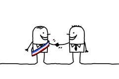 Man and mayor handshake. Vector hand drawn cartoon characters royalty free illustration