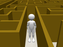 Man in a Maze. A man in a maze searching the exit. Conceptual illustration royalty free illustration