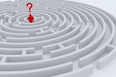 Man into maze. Man with question mark into the center of maze royalty free illustration