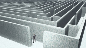 Man and maze. Man about to enter maze stock illustration