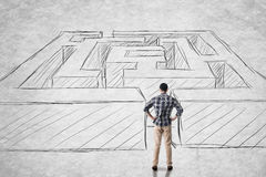 Man with maze Stock Images
