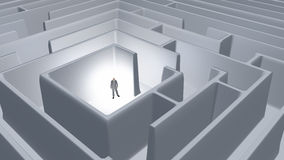 Man and maze. Man in center of maze royalty free illustration