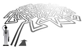 Man and maze. Creative design of man and maze stock illustration