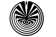 Man in the Maze Indian Symbol. Man in the maze isolated indian symbol of Arizona, representing the path from birth to death, fate royalty free illustration