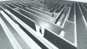Man and maze. Man in 3D maze labyrinth. Human elements were created with 3D software and are not from any actual human likenesses vector illustration