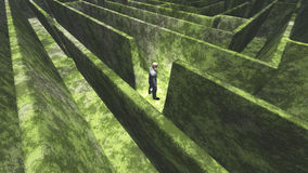 Man and maze. Man in midst of maze stock illustration