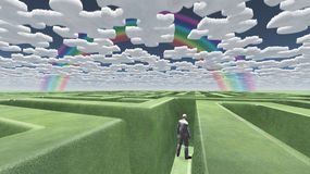 Man in maze puzzle clouds. Man in maze with puzzle clouds royalty free illustration
