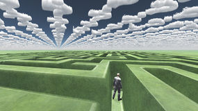 Man in maze with question mark clouds. Man in maze with question mark shaped clouds vector illustration