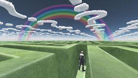Man in maze. With question mark shaped clouds. Human elements were created with 3D software and are not from any actual human likenesses stock illustration