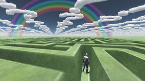 Man in maze. With question mark shaped clouds royalty free illustration