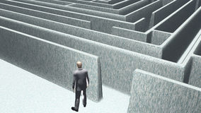 Man and maze. Man stands just outside of maze royalty free illustration