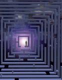 Man in Maze. Man in Vertical Maze before stars stock illustration