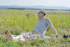 Man on a meadow Stock Photo