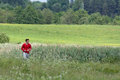 Man in the meadow Royalty Free Stock Image