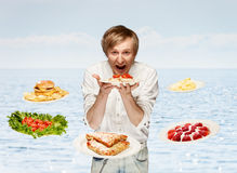 Man and meals Stock Image