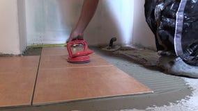 Man measure with centimeter left floor area Home renovation. stock video