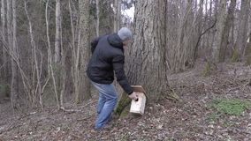 Man with measure tape and birdhouse near tree stock video