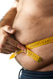 A man  measuring his belly fat. On White background Stock Images