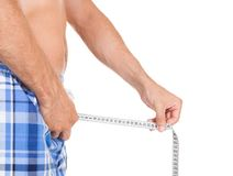 Man measuring his penis size Stock Photography