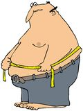 Man Measuring His Waist. This illustration depicts a large, fat man measuring his waist size Royalty Free Stock Photography