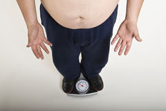 Man Measuring His Weight Royalty Free Stock Photos