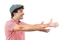 Man med öppna armar Fotografering för Bildbyråer