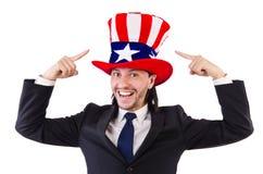 Man med amerikanska flaggan Fotografering för Bildbyråer