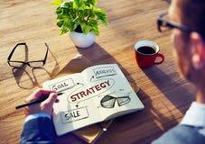 Man med anteckningsboken och strategibegrepp arkivbild