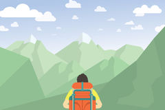 Man med att fotvandra för ryggsäck stora liggandebergberg royaltyfri illustrationer