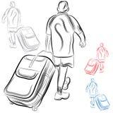 Man med bagage Arkivbilder