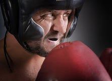 Man med boxninghandskar Arkivfoton